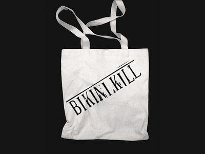 Bikini Kill logo tote bag - black logo on natural tote main photo