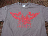 grey shirt with red herons/angel