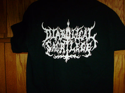 Diabolical Sacrilege White Logo on BLACK Shirt