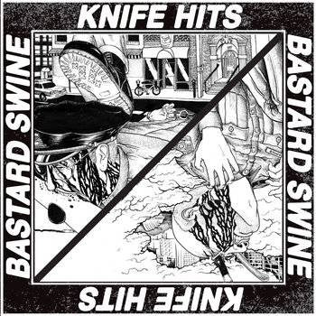 "Bastard Swine / Knife Hits - Split 7"" cover art"