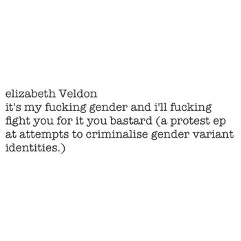 it's my fucking gender and i'll fucking fight you for it you bastard (a protest ep at attempts to criminalise gender variant identities.) cover art