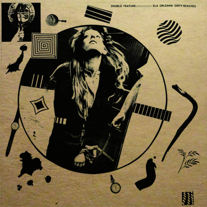 """Ela Orleans / Dirty Beaches - Double Feature Split 12"""" LP cover art"""