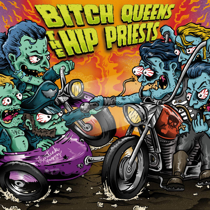 "Bitch Queens & The Hip Priests Split 7"" cover art"