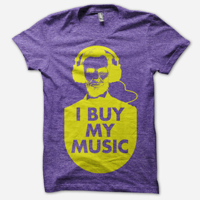 """I Buy My Music"" - Honest Abe Purple & Gold cover art"