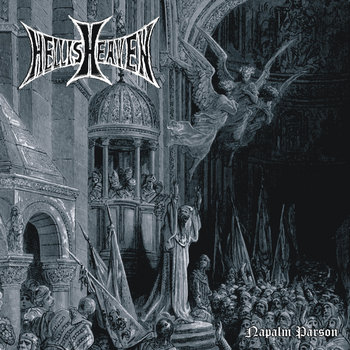HELLISHEAVEN / CREEPING CORRUPT - split LP cover art