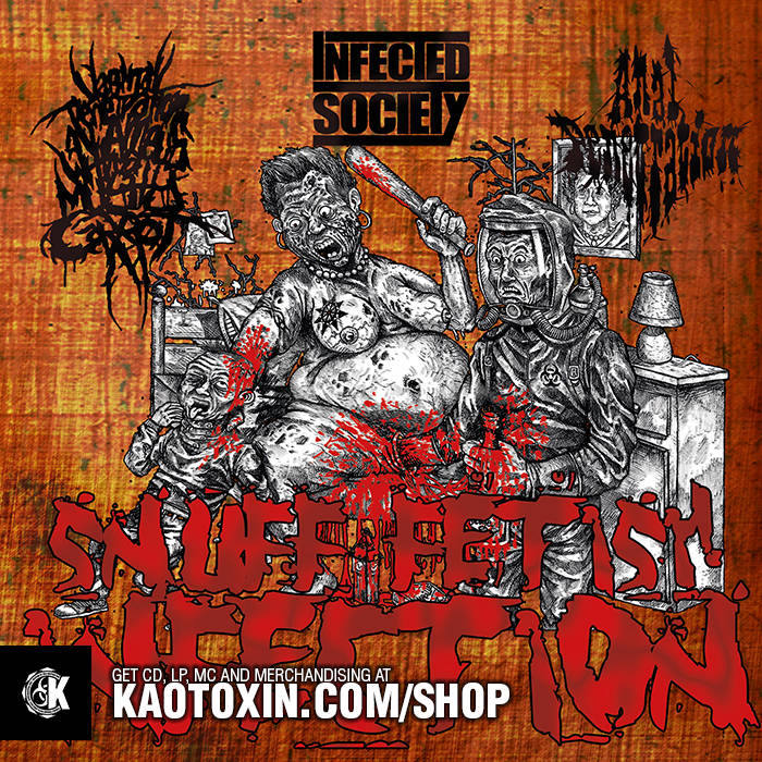 "ANAL PENETRATION / INFECTED SOCIETY / VxPxOxAxAxWxAxMxC ""Snuff Fetish Infection"" cover art"