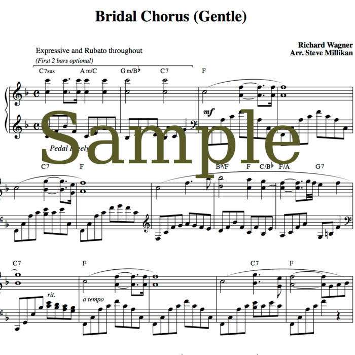 Bridal Chorus Sheet Music (Here Comes The Bride, Wedding March) Gentle Piano, short & long versions cover art