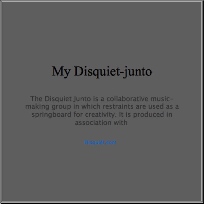My Disquiet-junto cover art
