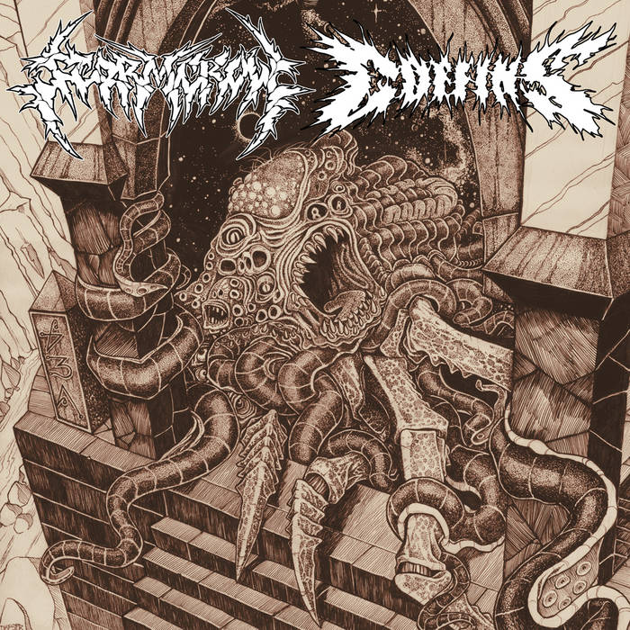 Stormcrow / Coffins Split LP cover art