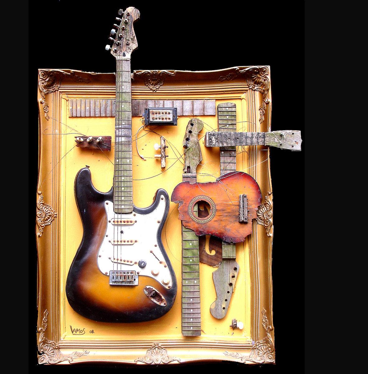 guitarnica mixed media guitar sculpture 80 x 100. Black Bedroom Furniture Sets. Home Design Ideas