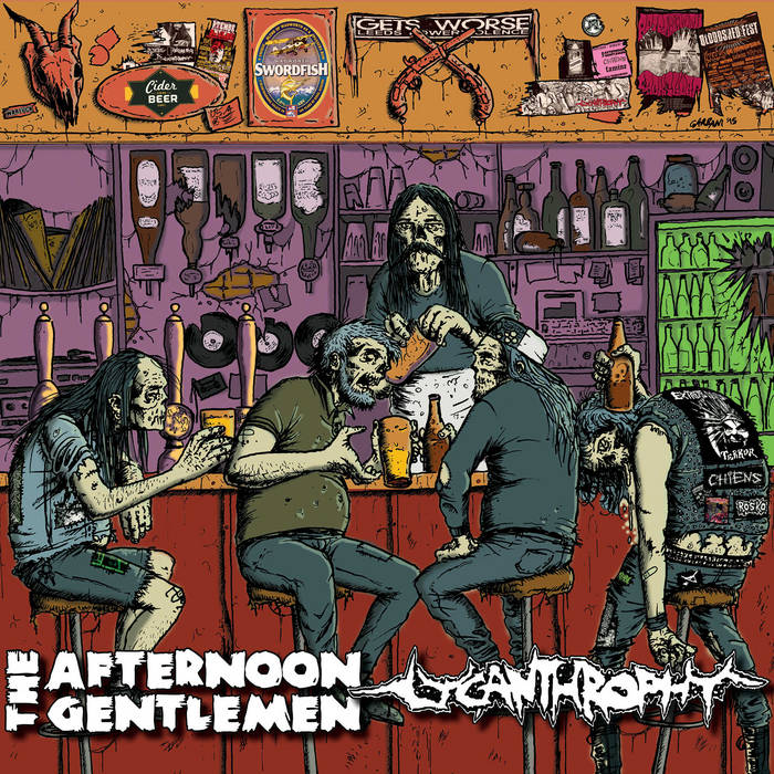 "The Afternoon Gentlemen/Lycanthrophy split 10"" cover art"