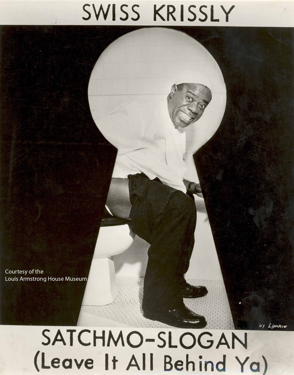 Louis Armstrong sits on a toilet in a card he printed to advocate taking laxatives for your health c 1950